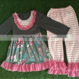 fall boutique girl clothing wholesale ruffle pants lace bib baby cotton frocks designs wholesale icing pants