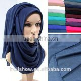 Wholesale Plain Women Dubai Muslim Scarf Solid Color Cotton Infinity Jersey Hijab                                                                         Quality Choice