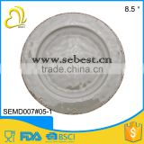 8.5'' high quality rustic printing thick gray round melamine disposable dishes for dinner