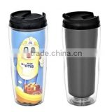 BPA free double wall plastic travel mug inserted colorful paper