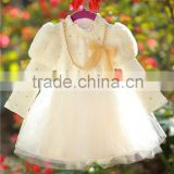 2015 new korean kids satin dress black and white vintage princess skirt long sleeved dress100-140cm