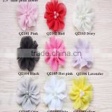shabby chiffon flowers wholesale - hair shabby flower-chiffon flower-pearl center chiffon flower