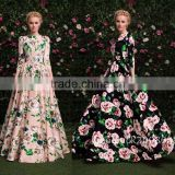 2016 new prom camellia flower printed catwalk long sleeve maxi vintage dress