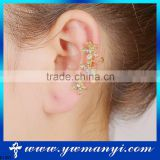 Flower Shape Rhinestone Cuff Clip Golden Ear Clip Fashion Jewelry E1357
