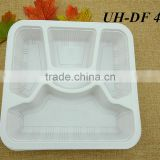 PP Plastic Disposable 5 Compartment Microwave Safe Takeaway Food Container Lunch Tray without Lid