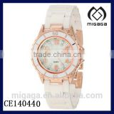 gold plating case enamel bezel white ceramic quartz watch