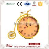 Cute yellow retro bicycle shaped promotional gift metal kids clock