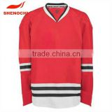 Cheap red color custom sublimated polyester ice hockey jersey