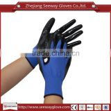 SEEWAY Black Nitrile Coated Palm Blue Nylon Seamless Knitted Oil Resistant Dirt Prevention Gloves for General Work
