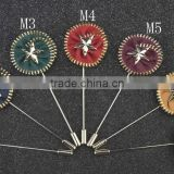 Rounded Zipper Lapel Pins With Metal Star Center,Mature Men Brooches,Customized Long Corsage