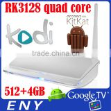chromecast wholesale android smart tv set top box RK3128 quad core tv box 802.11b/g/n wifi 512+4GB KODI14.0 media player tv box