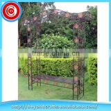 Modern outdoor fancy iron garden arch with bench