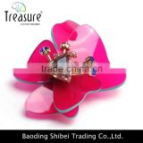 2015 latest new design hot selling Pink Flower Korean Cheap Crystal Rhinestone Brooch                                                                         Quality Choice