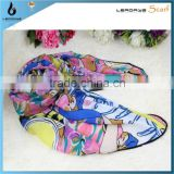 fashion colorful beautiful girl flower square scarf