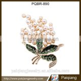 2016 Latest design fashionable enamel imitation pearl boutique flower brooch