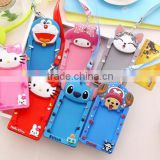 Custom bulk embossed cartoon animal shape business card cover pvc silicone passport case bus ID card holder with lanyard rope