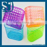 Trade Assurance Plastic suction cup bathroom basket /holders/shelf/PLASTIC BASKET bathroom basket with handle