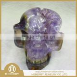 precious crystal skull with purple amethyst geode all by handmade good for collection or decoration