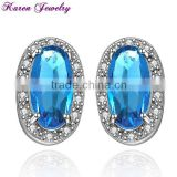 New Big Sapphire Blue Zircon Crystal Stud Earrings for Women Platinum Plated Gold Earring Big Earrings