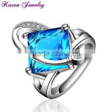 Elegant Big Sapphire Blue Zircon Crystal Ring Party Exaggerated Wedding Rings for Women Platinum Plated Engagement Ring
