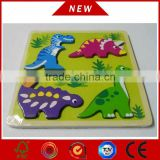 2015 kids Learning Toys Cartoon/Animal Jigsaw Puzzle Board 3D wooden puzzle toy with dinosaur shapes
