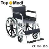 Rehabilitation Therapy Supplies Topmedi TSW809B hard seat cushion steel portable wheelchair