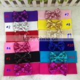 3inch Sequin Hair Bow with Stretchy Nylon Headband Interchangeable Nylon Baby Headband Sequin Bow Headwrap for Girls