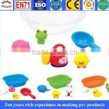 pvc water baby bath toys, cartoon baby bath toys with EN71, soft plastic baby bath floating duck toys