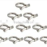 10 PCS 3/8 inch Silver Color Stainless Steel Bow Shackles with Cosmos Fastening Strap by Cosmos