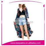 Women's Floral Printed Kimono Cardigan Beach Cover up Tunic Maxi Dress