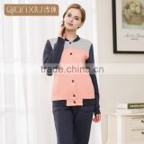 Super Grade Qianxiu Wholesale Long Sleeve Couples Home Suit Buttons Down Women Thermal Pajamas