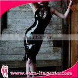 Sexy Black Leather Wet Look Bodycon Dress lace up erotic wetlook leather dress nignt clubwear