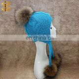 New Arrival Crochet Fur Bobble Wool Beanie Winter Hat