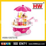 39 PCS B/O ice cream cart feature role play game pink pretend play toys with light & music