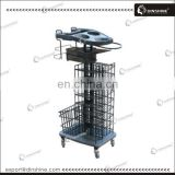 For beauty salon metal hair trolley with hairdressing color station