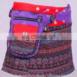 Trivial Print Cotton Fabric Gypsy Wrap Around Skirt With Bag Belt HHCS 140 A