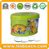 Metal tin coin bank with lock saving money box for gift
