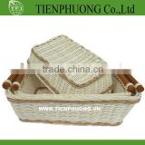 handle rattan/colorful bamboo storage basket/fruit bamboo basket/rattan tray for restaurant/hotel
