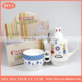 turkish tea pot gift color box packing customized cute rabbit ceramic porcelain tea pot & kettle for two cup