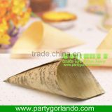 disposable biodegradable bamboo leaf cone cup