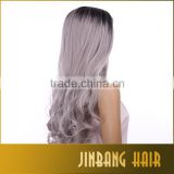 Natural Wave Wigs Long 24 inch 1B Ombre Silver Grey Lace Front Wigs/ Wavy Cosplay / Party Wigs