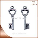 zinc alloy Wholesales Mini heart key charm pendant in antique silver20x7mm for handcraft bracelet necklace