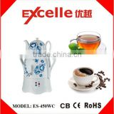 3L S/S kettle + 1L ceramic teapot white color electric traditional Russian Samovar / Turkish tea maker with flower printed