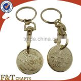 Custom plating gold sand bottom trolley coin/shopping trolley coin lock/trolley coin keychain