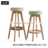 First touch hot swivel wooden bar stool with round seat AM-078