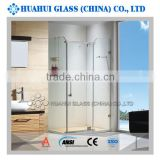 6mm rectangle hinged tempered clear glass shower enclosure frameless for bathroom with CE ANSI IOS AS/NZS 2208 certificates