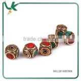 DIY Accessories Nepal Handmade Inlaid Copper Turquoise Red Coral Beads jewelry Factory Direct