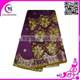 Chrysanthemum with Sequins Flower Design GE-007 Intorica African George Fabric for Party Dress