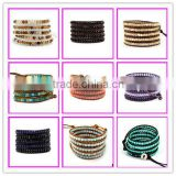GZKJL-BL0184 Fashion 5 wrap leather bracelet,Agate beads bracelet,wholesale gemstone beaded bracelet