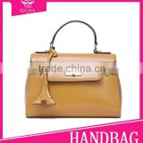 High quality 2015 Brown Full grain leather hand painted fashion ladies leather business bags